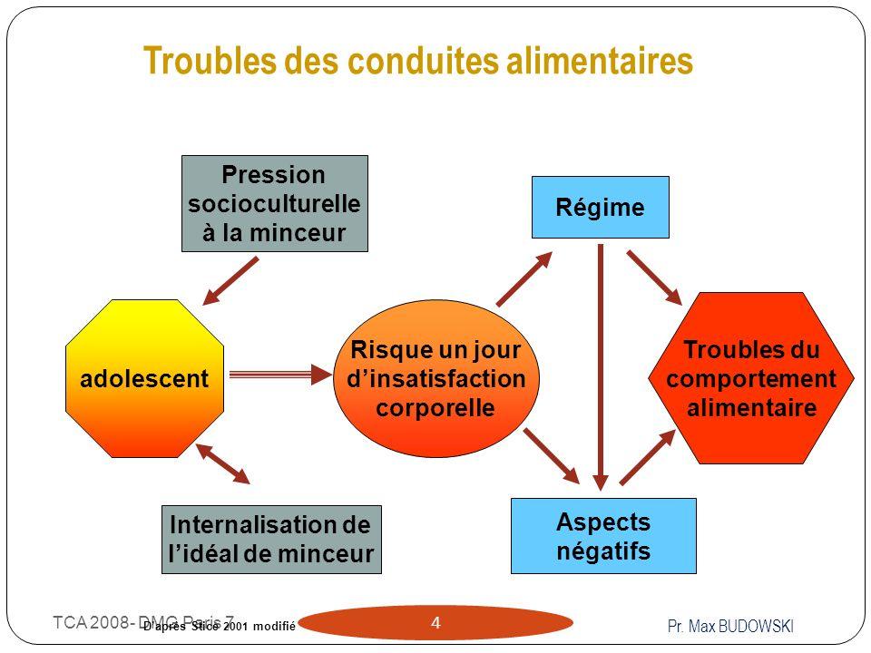 TCA 2008- DMG Paris 7 4 Troubles des conduites alimentaires Pression socioculturelle à la minceur Internalisation de lidéal de minceur Risque un jour