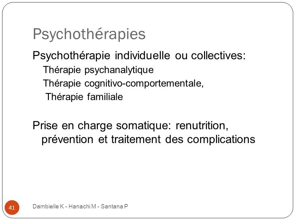 Psychothérapies Dambielle K - Hanachi M - Santana P 41 Psychothérapie individuelle ou collectives: Thérapie psychanalytique Thérapie cognitivo-comport