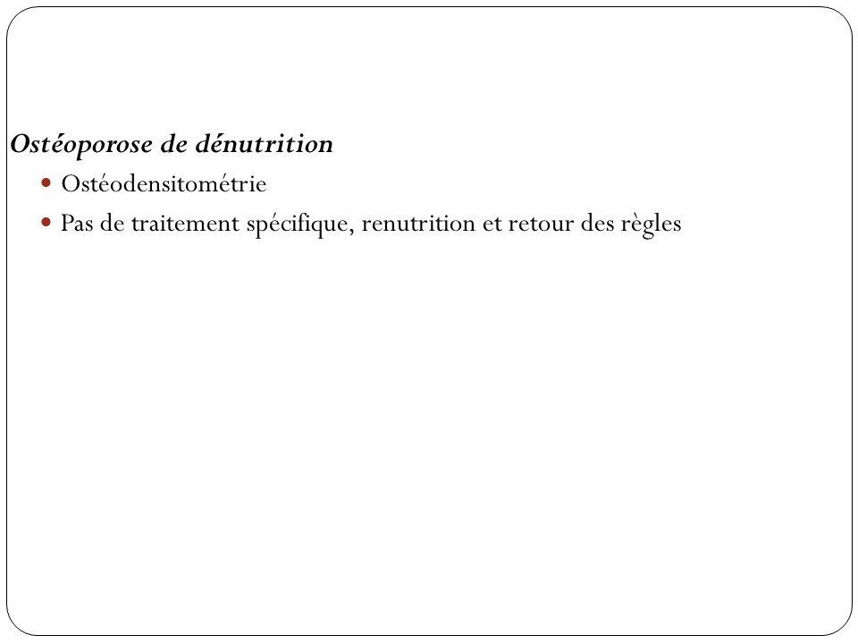 Ostéoporose de dénutrition Ostéodensitométrie Pas de traitement spécifique, renutrition et retour des règles