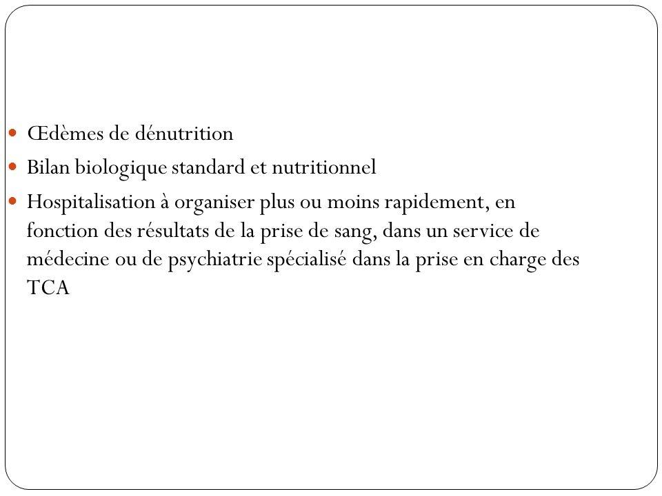 Œdèmes de dénutrition Bilan biologique standard et nutritionnel Hospitalisation à organiser plus ou moins rapidement, en fonction des résultats de la