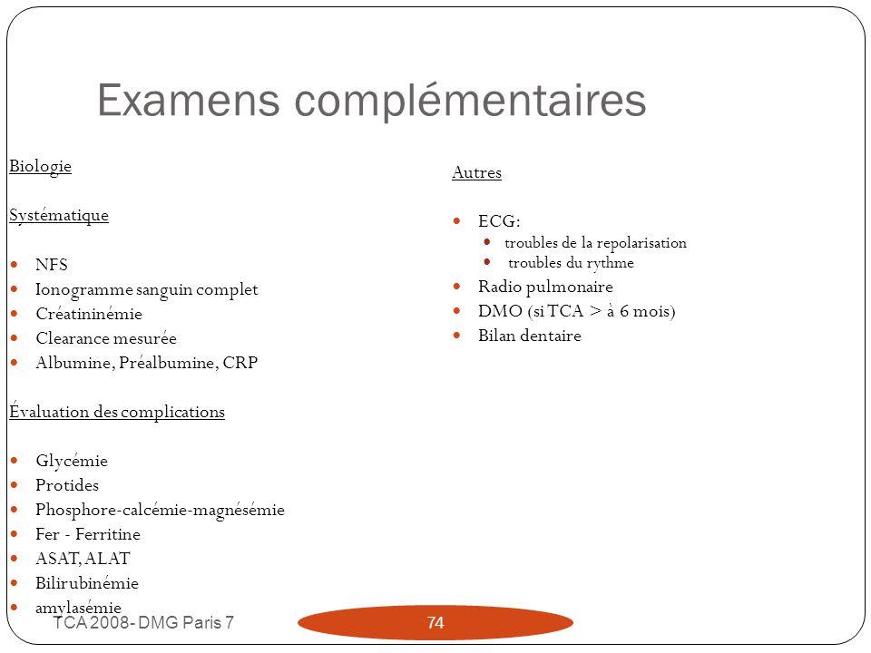 Examens complémentaires TCA 2008- DMG Paris 7 74 Biologie Systématique NFS Ionogramme sanguin complet Créatininémie Clearance mesurée Albumine, Préalb