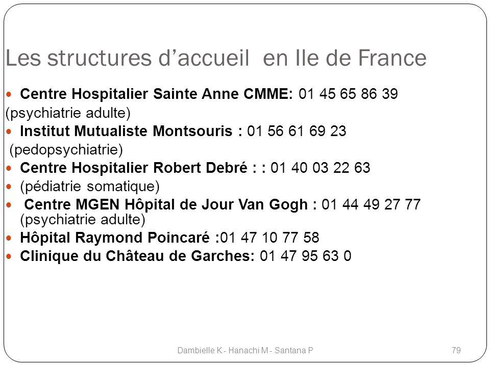 Les structures daccueil en Ile de France Centre Hospitalier Sainte Anne CMME: 01 45 65 86 39 (psychiatrie adulte) Institut Mutualiste Montsouris : 01