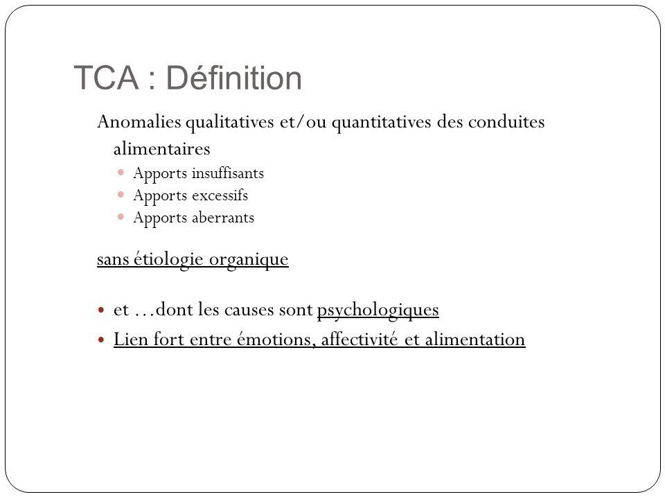 TCA : Définition Anomalies qualitatives et/ou quantitatives des conduites alimentaires Apports insuffisants Apports excessifs Apports aberrants sans é