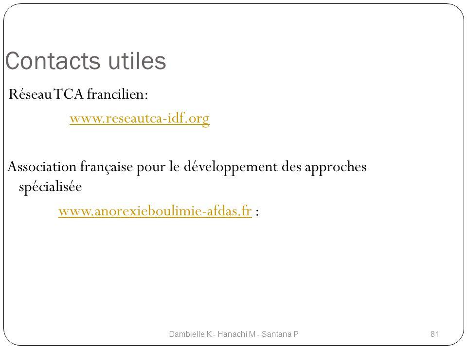 Contacts utiles Réseau TCA francilien: www.reseautca-idf.org Association française pour le développement des approches spécialisée www.anorexieboulimi