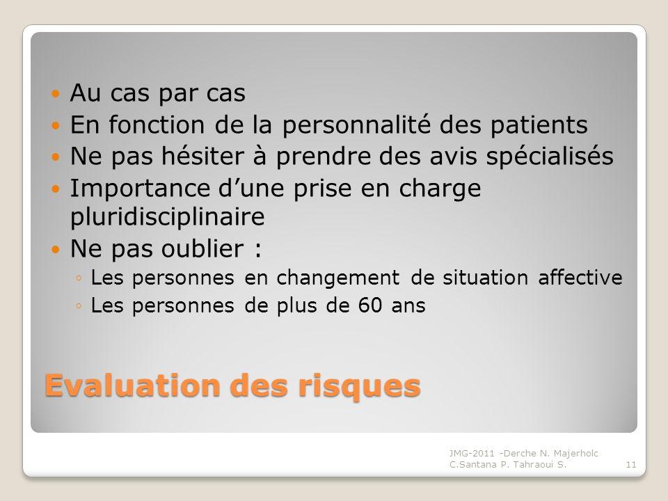 Evaluation des risques Au cas par cas En fonction de la personnalité des patients Ne pas hésiter à prendre des avis spécialisés Importance dune prise