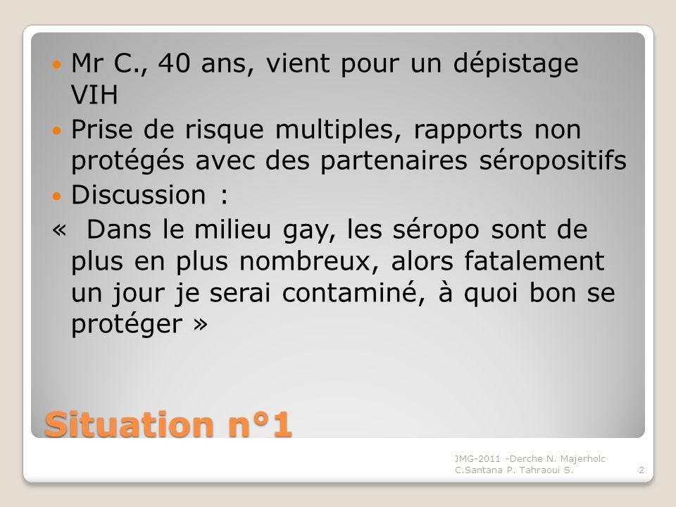 Situation n°1 Mr C., 40 ans, vient pour un dépistage VIH Prise de risque multiples, rapports non protégés avec des partenaires séropositifs Discussion