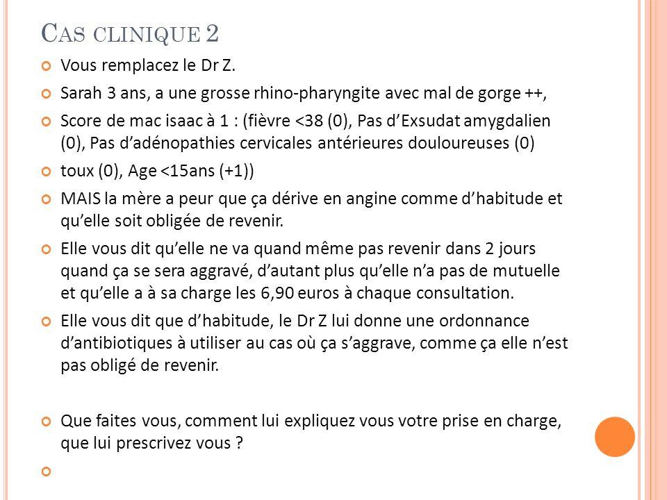 C AS CLINIQUE 2 Vous remplacez le Dr Z. Sarah 3 ans, a une grosse rhino-pharyngite avec mal de gorge ++, Score de mac isaac à 1 : (fièvre <38 (0), Pas