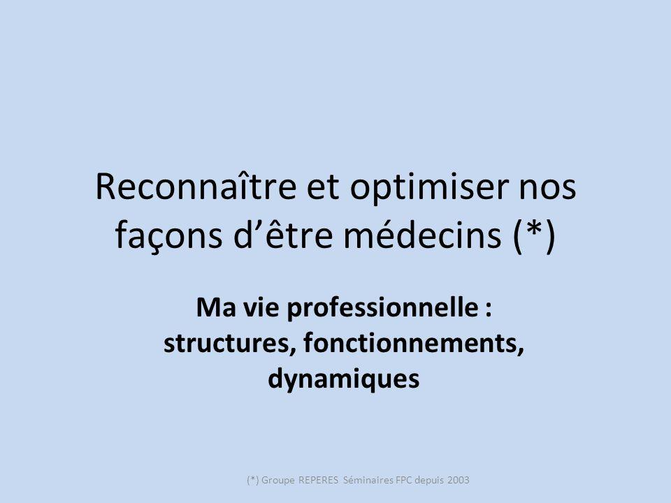 (*) Groupe REPERES Séminaires FPC depuis 2003 Reconnaître et optimiser nos façons dêtre médecins (*) Ma vie professionnelle : structures, fonctionneme