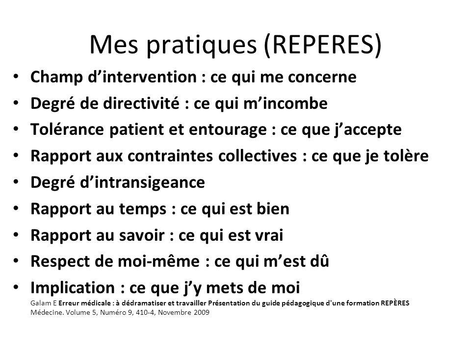 Mes pratiques (REPERES) Champ dintervention : ce qui me concerne Degré de directivité : ce qui mincombe Tolérance patient et entourage : ce que jaccep