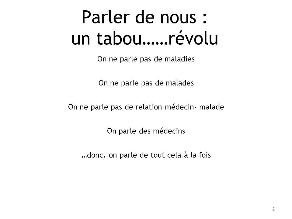 Parler de nous : un tabou……révolu 2 On ne parle pas de maladies On ne parle pas de malades On ne parle pas de relation médecin- malade On parle des mé