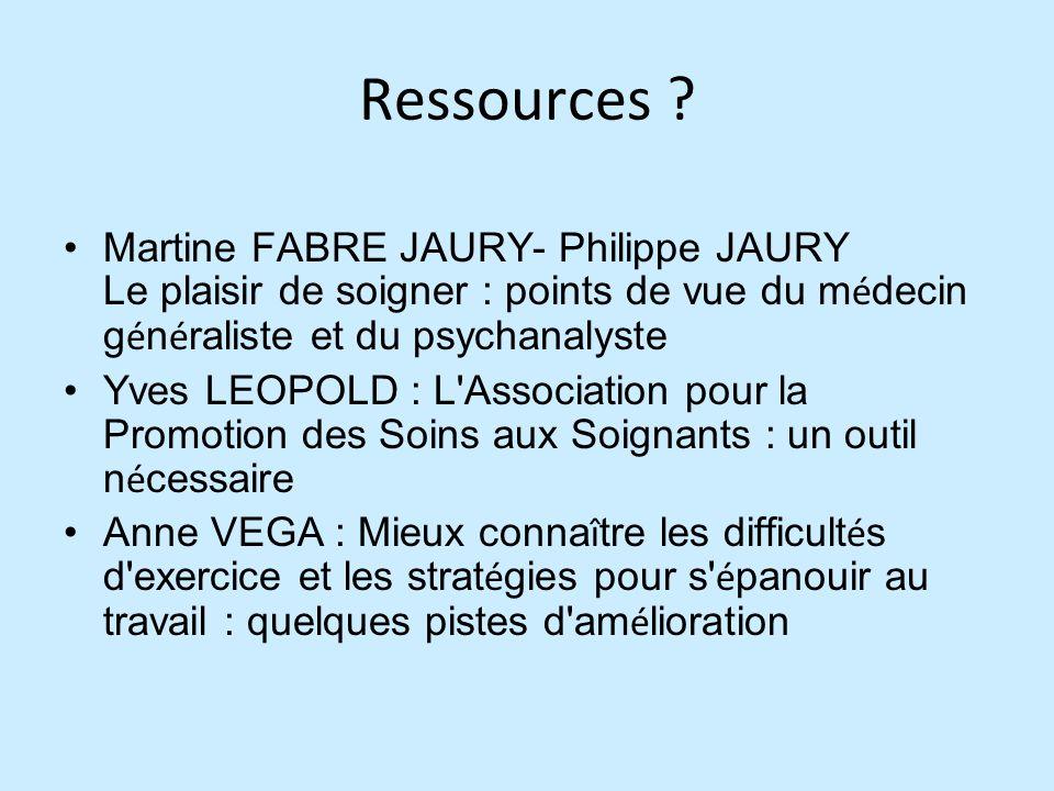 Ressources ? Martine FABRE JAURY- Philippe JAURY Le plaisir de soigner : points de vue du m é decin g é n é raliste et du psychanalyste Yves LEOPOLD :