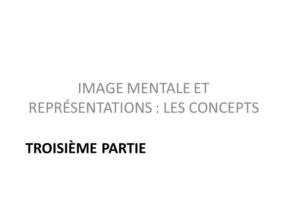 TROISIÈME PARTIE IMAGE MENTALE ET REPRÉSENTATIONS : LES CONCEPTS