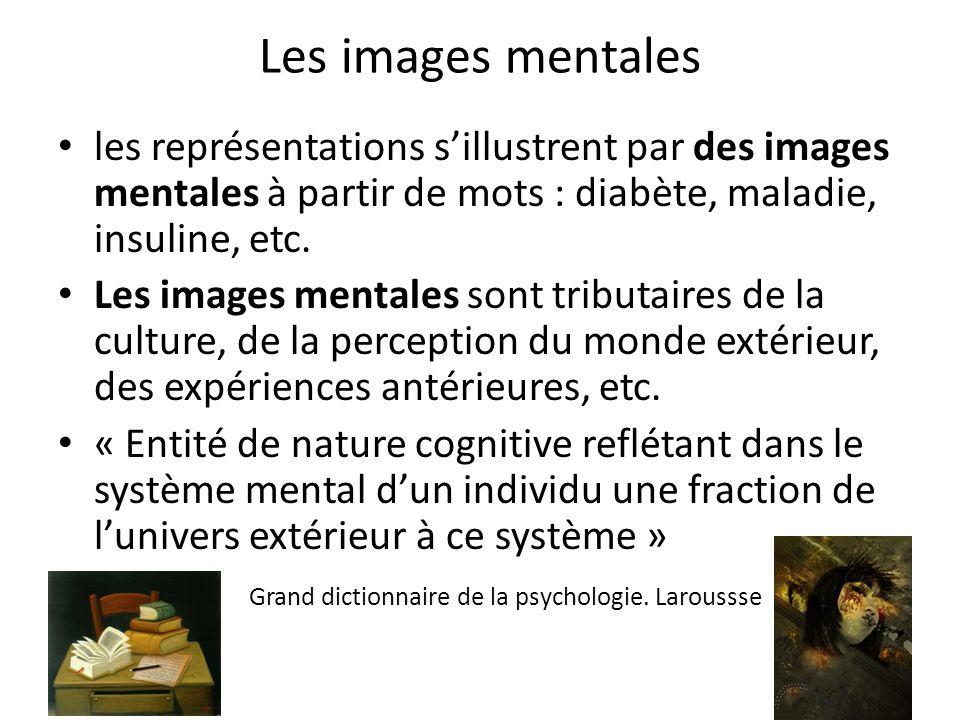 Les images mentales les représentations sillustrent par des images mentales à partir de mots : diabète, maladie, insuline, etc. Les images mentales so