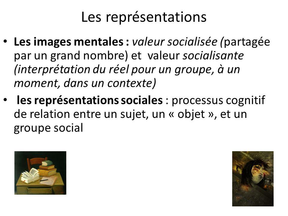 Les représentations Les images mentales : valeur socialisée (partagée par un grand nombre) et valeur socialisante (interprétation du réel pour un grou