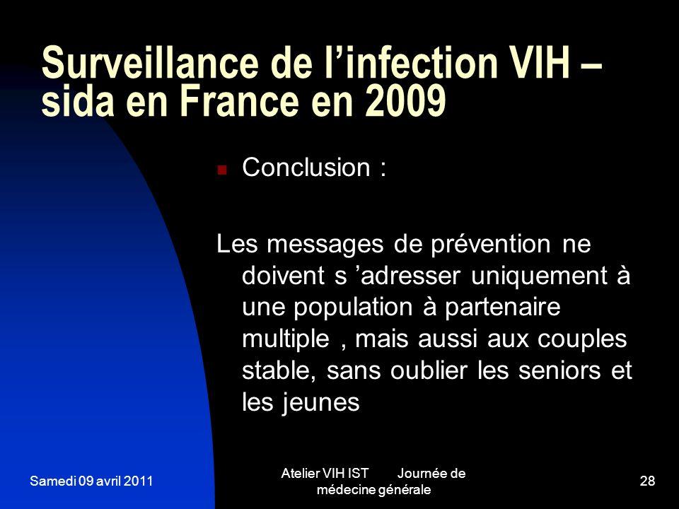 Samedi 09 avril 2011 Atelier VIH IST Journée de médecine générale 28 Surveillance de linfection VIH – sida en France en 2009 Conclusion : Les messages
