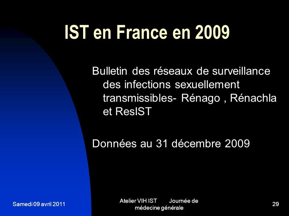 Samedi 09 avril 2011 Atelier VIH IST Journée de médecine générale 29 IST en France en 2009 Bulletin des réseaux de surveillance des infections sexuell