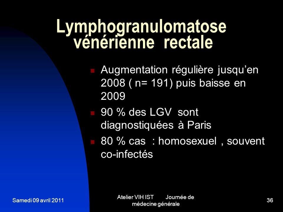 Samedi 09 avril 2011 Atelier VIH IST Journée de médecine générale 36 Lymphogranulomatose vénérienne rectale Augmentation régulière jusquen 2008 ( n= 1