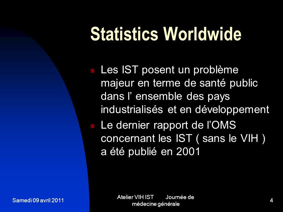 Samedi 09 avril 2011 Atelier VIH IST Journée de médecine générale 4 Statistics Worldwide Les IST posent un problème majeur en terme de santé public da