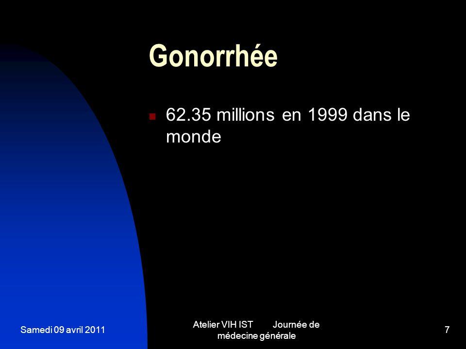 Samedi 09 avril 2011 Atelier VIH IST Journée de médecine générale 7 Gonorrhée 62.35 millions en 1999 dans le monde