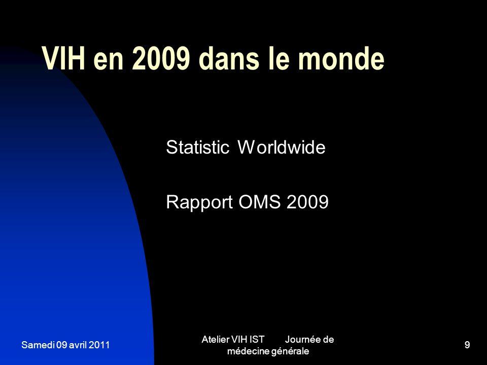 Samedi 09 avril 2011 Atelier VIH IST Journée de médecine générale 9 VIH en 2009 dans le monde Statistic Worldwide Rapport OMS 2009