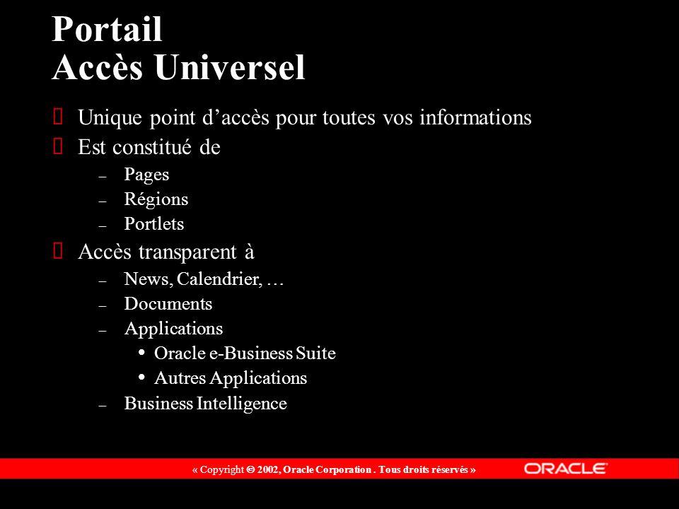 « Copyright 2002, Oracle Corporation. Tous droits réservés » Portail Accès Universel Unique point daccès pour toutes vos informations Est constitué de