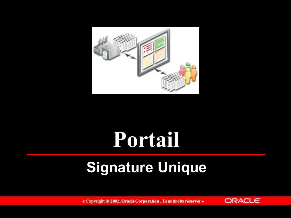 « Copyright 2002, Oracle Corporation. Tous droits réservés » Portail Signature Unique