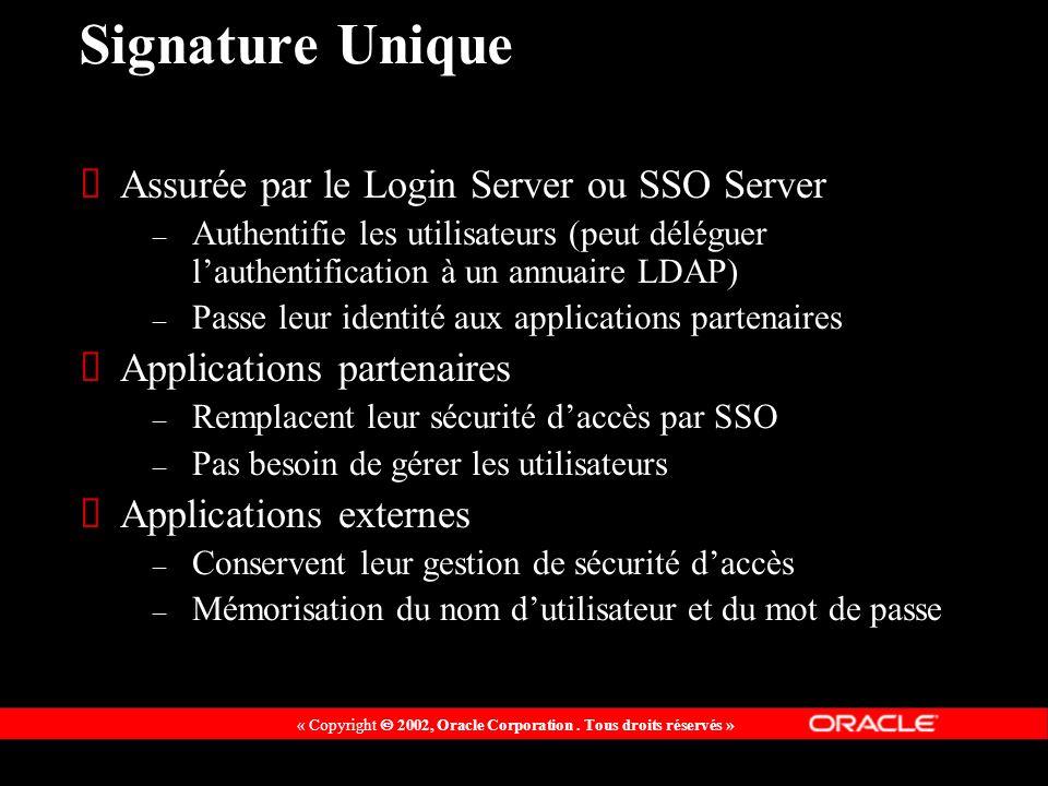 « Copyright 2002, Oracle Corporation. Tous droits réservés » Signature Unique Assurée par le Login Server ou SSO Server – Authentifie les utilisateurs