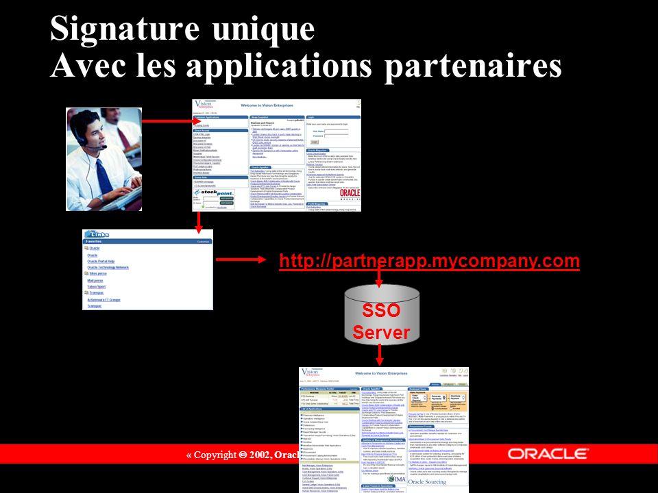 « Copyright 2002, Oracle Corporation. Tous droits réservés » http://partnerapp.mycompany.com SSO Server Signature unique Avec les applications partena