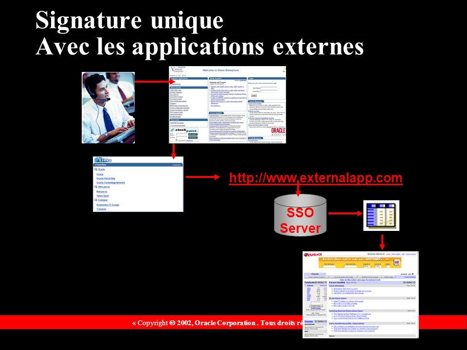 « Copyright 2002, Oracle Corporation. Tous droits réservés » http://www.externalapp.com SSO Server Signature unique Avec les applications externes