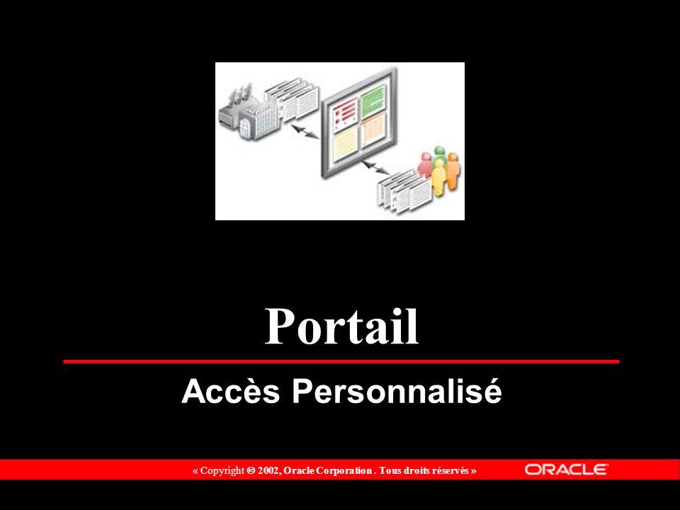 « Copyright 2002, Oracle Corporation. Tous droits réservés » Portail Accès Personnalisé