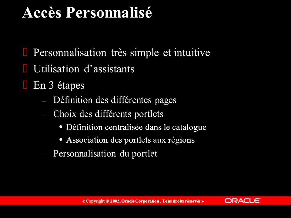 « Copyright 2002, Oracle Corporation. Tous droits réservés » Accès Personnalisé Personnalisation très simple et intuitive Utilisation dassistants En 3