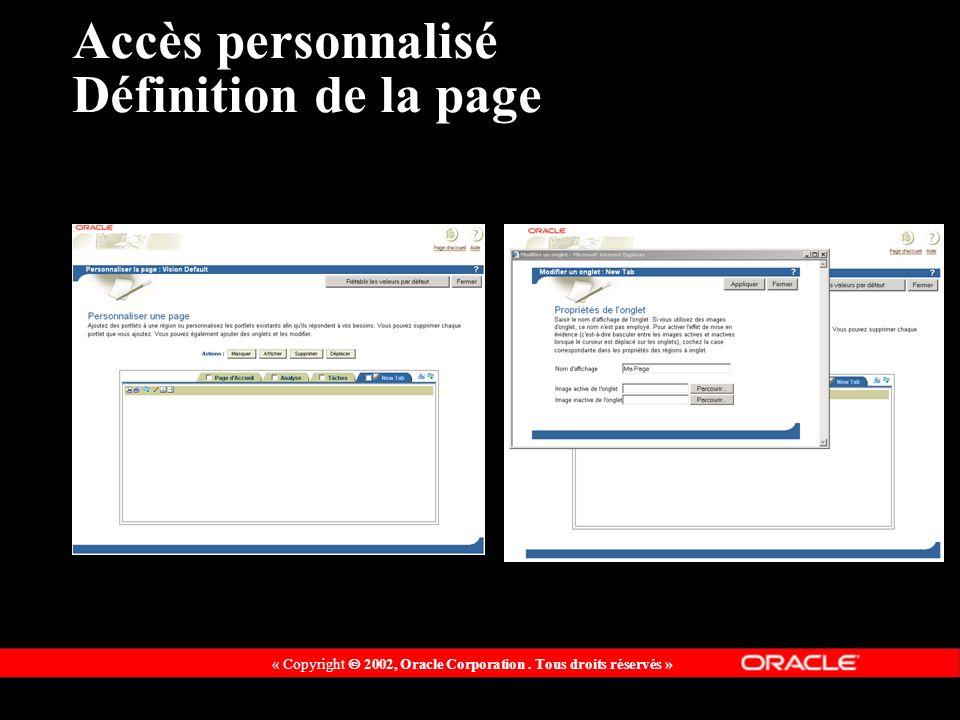 « Copyright 2002, Oracle Corporation. Tous droits réservés » Accès personnalisé Définition de la page