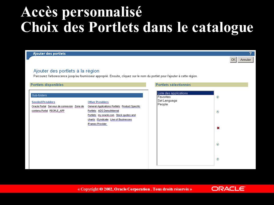 « Copyright 2002, Oracle Corporation. Tous droits réservés » Accès personnalisé Choix des Portlets dans le catalogue