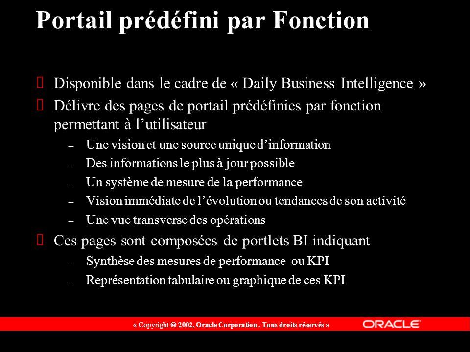 « Copyright 2002, Oracle Corporation. Tous droits réservés » Portail prédéfini par Fonction Disponible dans le cadre de « Daily Business Intelligence