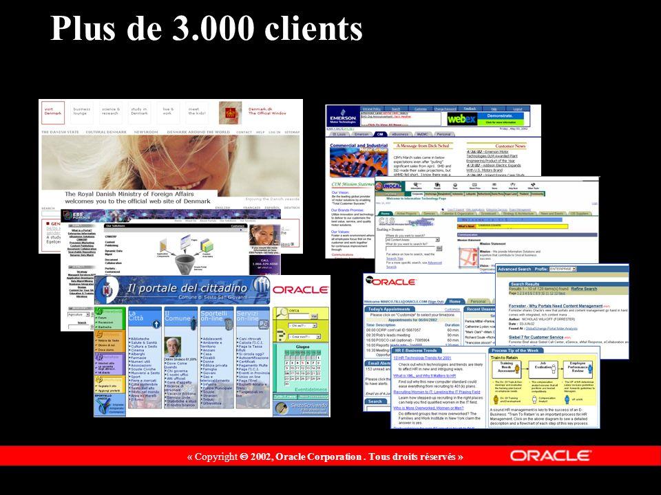« Copyright 2002, Oracle Corporation. Tous droits réservés » Plus de 3.000 clients