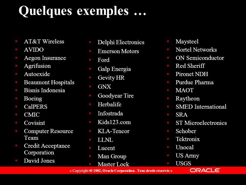 « Copyright 2002, Oracle Corporation. Tous droits réservés » Quelques exemples … AT&T Wireless AVIDO Aegon Insurance Agrifusion Autoexide Beaumont Hos