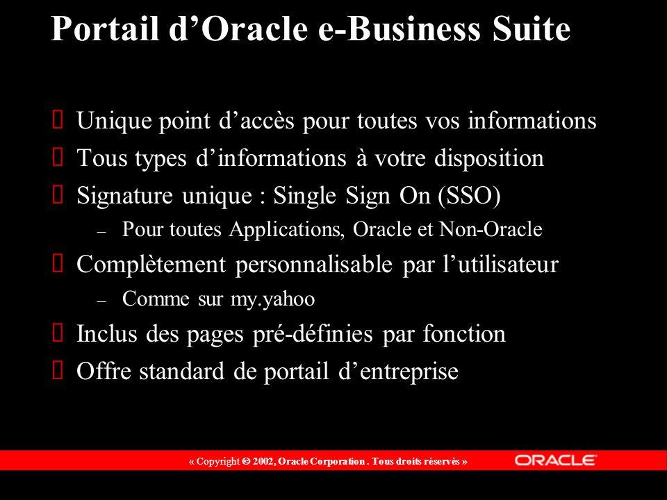 « Copyright 2002, Oracle Corporation. Tous droits réservés » Portail dOracle e-Business Suite Unique point daccès pour toutes vos informations Tous ty