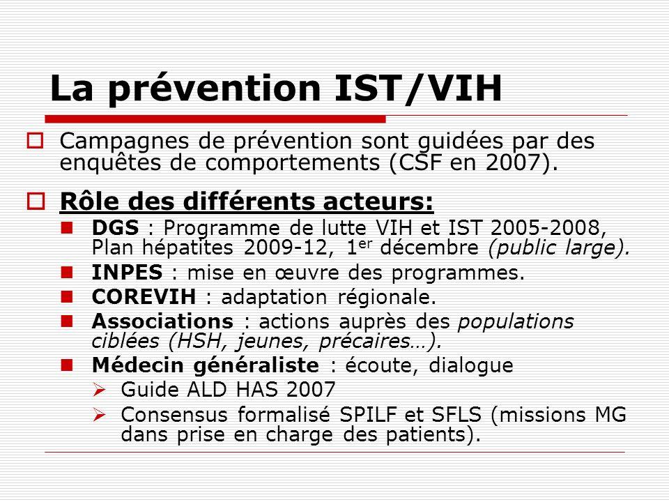 La prévention IST/VIH Campagnes de prévention sont guidées par des enquêtes de comportements (CSF en 2007). Rôle des différents acteurs: DGS : Program