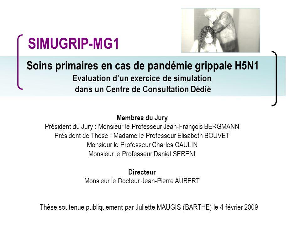 Soins primaires en cas de pandémie grippale H5N1 Evaluation dun exercice de simulation dans un Centre de Consultation Dédié Membres du Jury Président