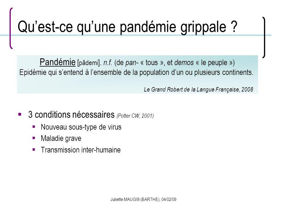 Juliette MAUGIS (BARTHE), 04/02/09 Quest-ce quune pandémie grippale ? 3 conditions nécessaires (Potter CW, 2001) Nouveau sous-type de virus Maladie gr