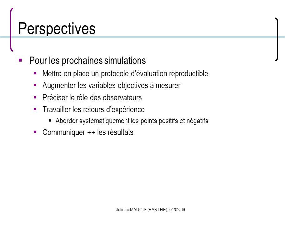 Juliette MAUGIS (BARTHE), 04/02/09 Perspectives Pour les prochaines simulations Mettre en place un protocole dévaluation reproductible Augmenter les v