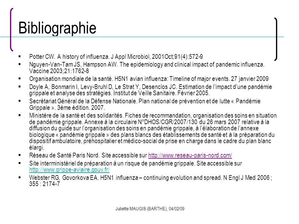 Juliette MAUGIS (BARTHE), 04/02/09 Bibliographie Potter CW. A history of influenza. J Appl Microbiol, 2001Oct;91(4):572-9 Nguyen-Van-Tam JS, Hampson A