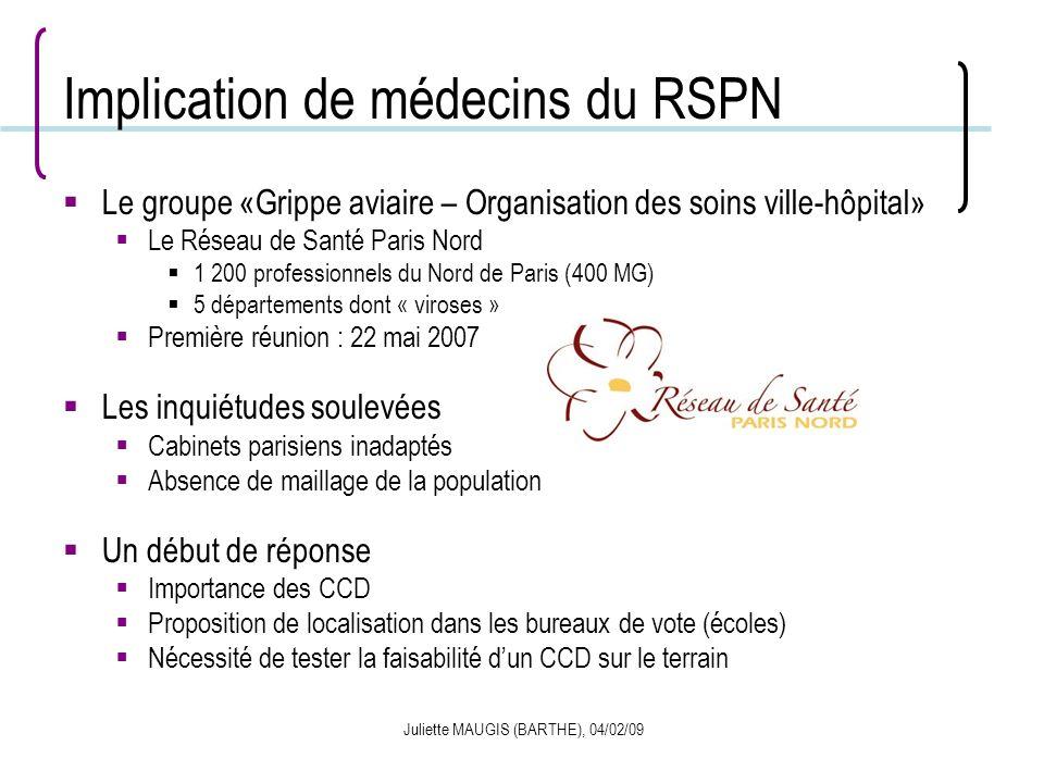 Juliette MAUGIS (BARTHE), 04/02/09 Implication de médecins du RSPN Le groupe «Grippe aviaire – Organisation des soins ville-hôpital» Le Réseau de Sant
