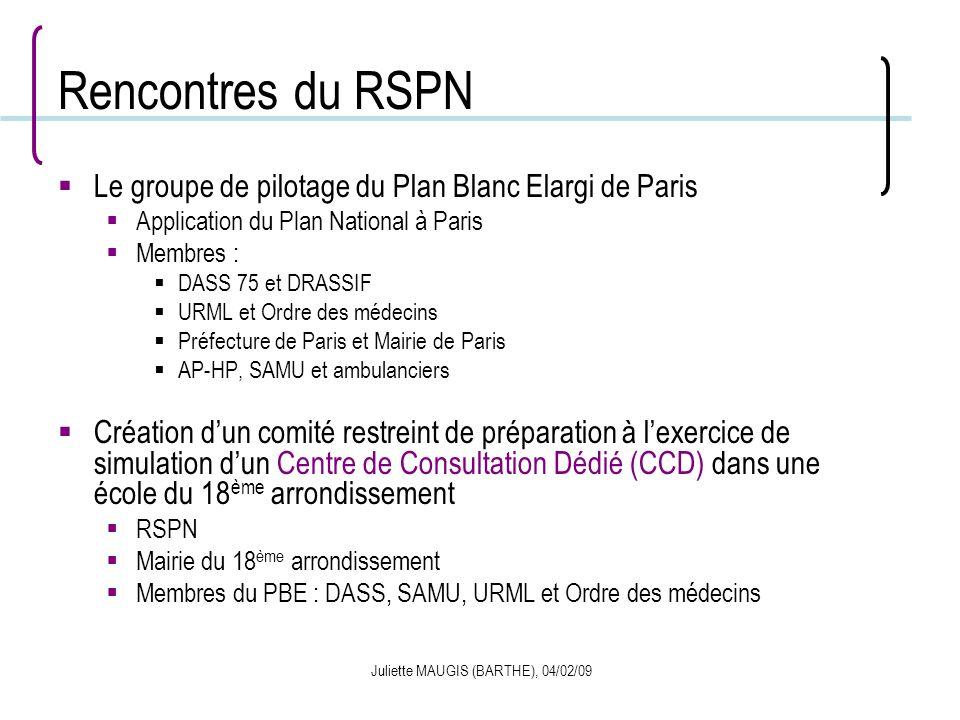 Juliette MAUGIS (BARTHE), 04/02/09 Rencontres du RSPN Le groupe de pilotage du Plan Blanc Elargi de Paris Application du Plan National à Paris Membres