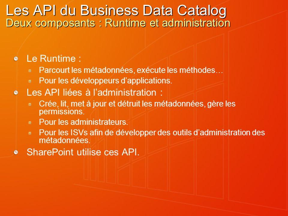Les API du Business Data Catalog Deux composants : Runtime et administration Le Runtime : Parcourt les métadonnées, exécute les méthodes… Pour les développeurs dapplications.