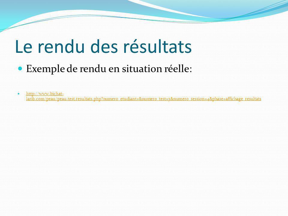 Le rendu des résultats Exemple de rendu en situation réelle: http://www.bichat- larib.com/peau/peau.test.resultats.php?numero_etudiant=&numero_test=3&numero_session=4&phase=affichage_resultats http://www.bichat- larib.com/peau/peau.test.resultats.php?numero_etudiant=&numero_test=3&numero_session=4&phase=affichage_resultats