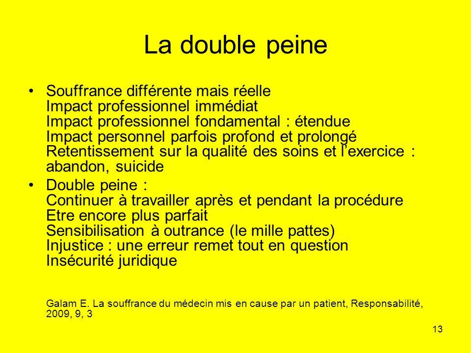 13 La double peine Souffrance différente mais réelle Impact professionnel immédiat Impact professionnel fondamental : étendue Impact personnel parfois
