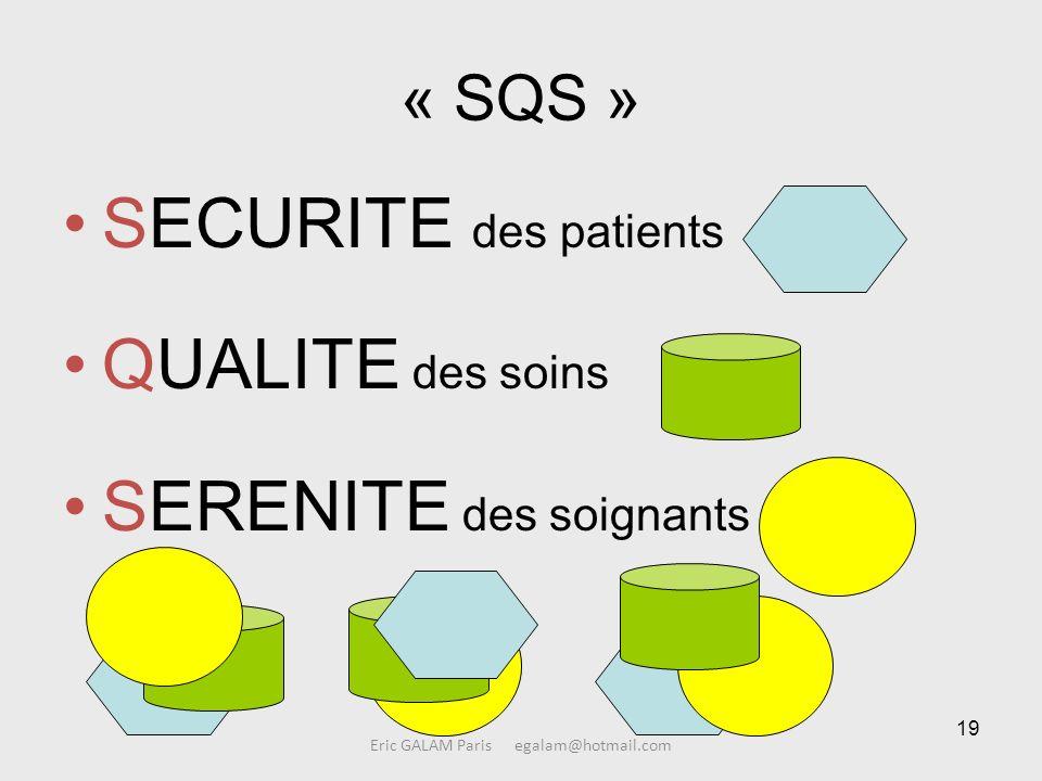 19 Eric GALAM Paris egalam@hotmail.com « SQS » SECURITE des patients QUALITE des soins SERENITE des soignants