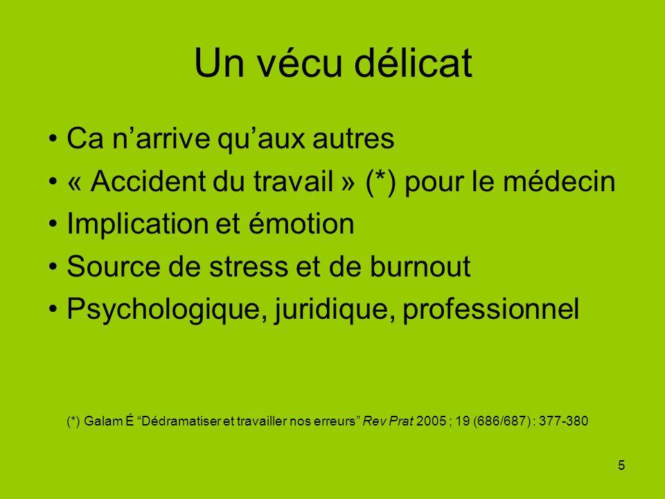 5 Un vécu délicat Ca narrive quaux autres « Accident du travail » (*) pour le médecin Implication et émotion Source de stress et de burnout Psychologi
