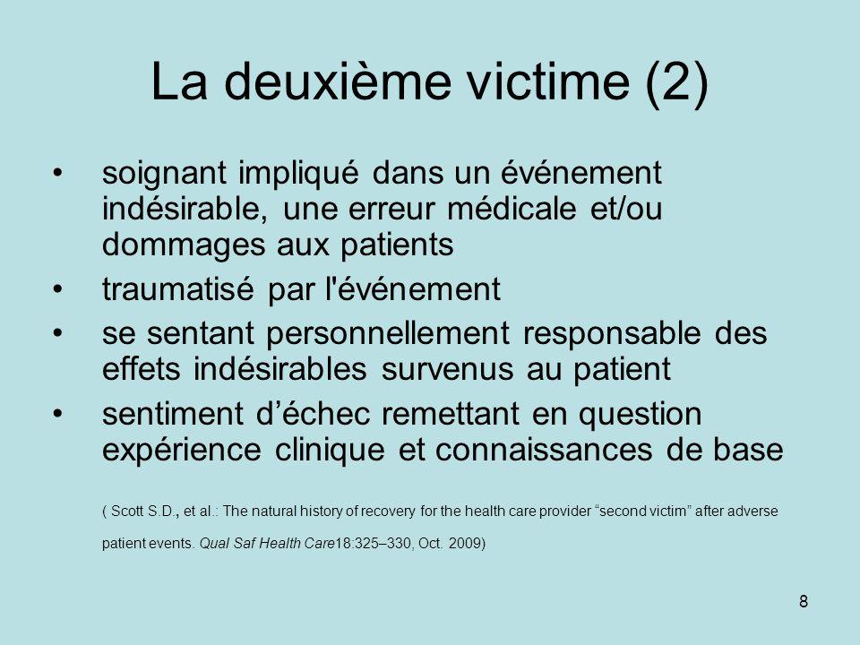 8 La deuxième victime (2) soignant impliqué dans un événement indésirable, une erreur médicale et/ou dommages aux patients traumatisé par l'événement